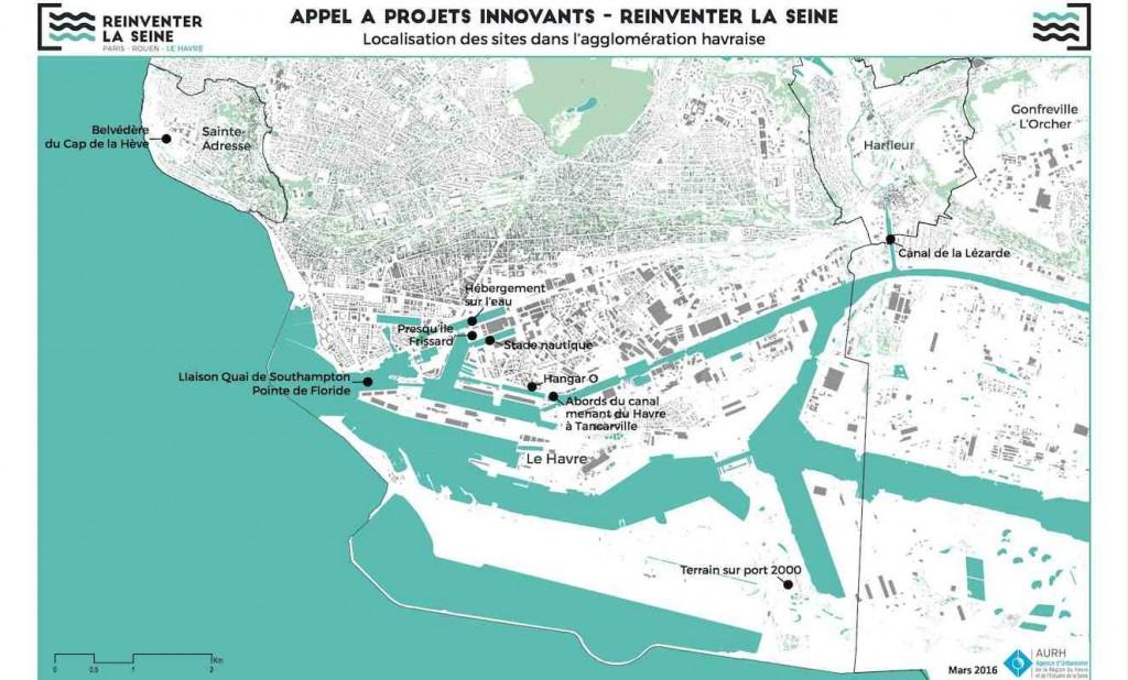 Carte des sites au Havre