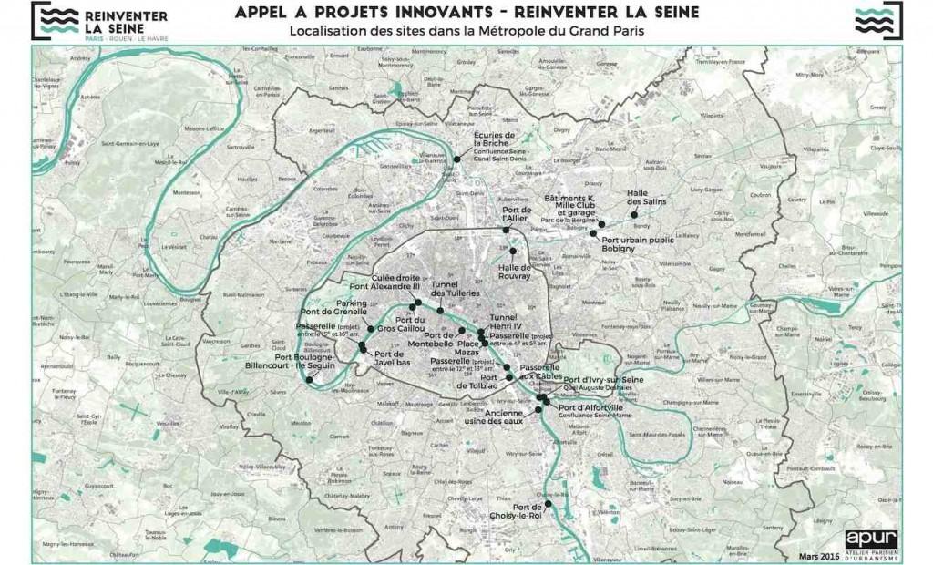 Carte des sites en Ile-de-France