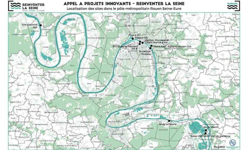 Carte des sites à Rouen