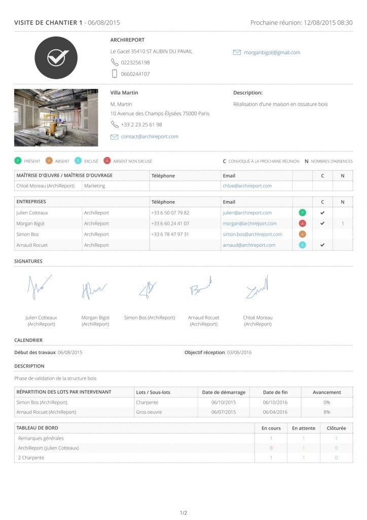 Exemple de compte-rendu ArchiReport