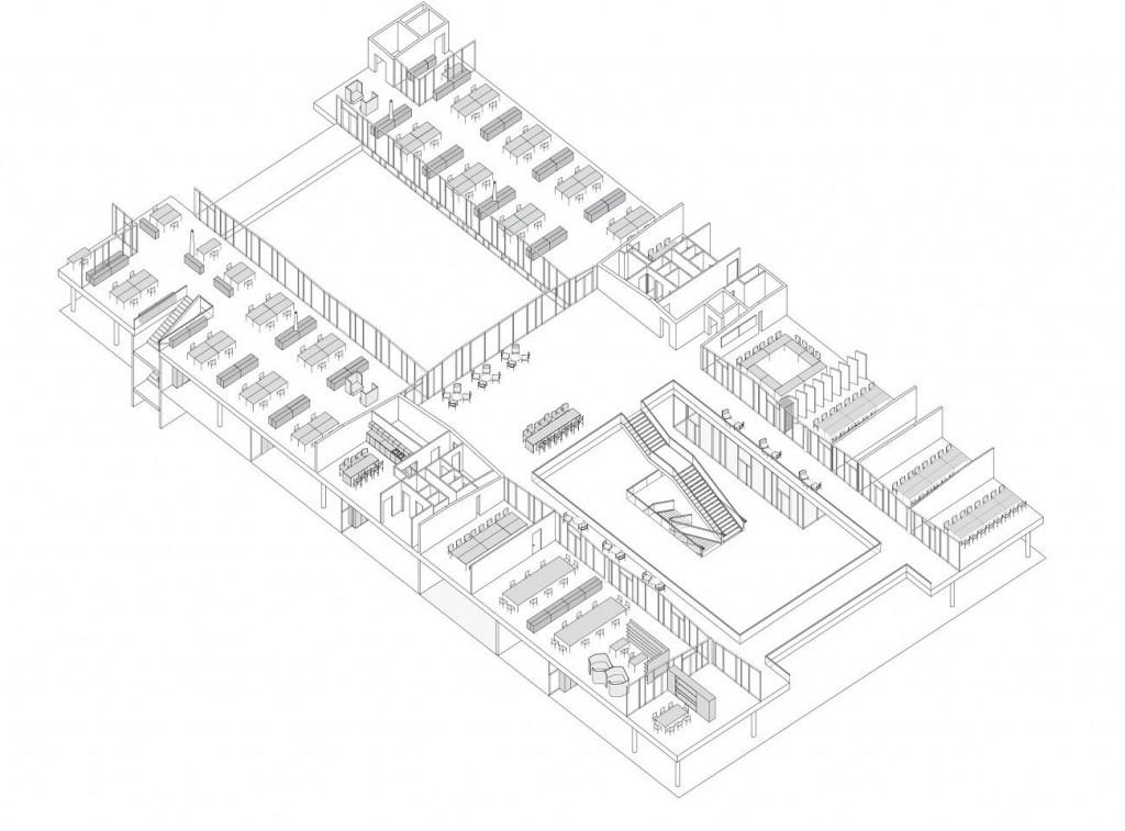 HagerForum Plan IsometricUpperFloor ©SauerbruchHutton compressed 1024x757 - Le Hager Forum étonne par son gigantisme
