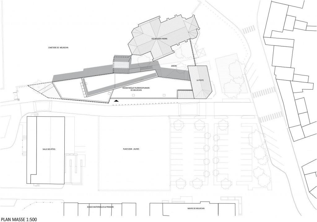 WONK MEURCHIN Plan masse 1 500 1024x717 - A site insolite, Wonk répond architecture atypique