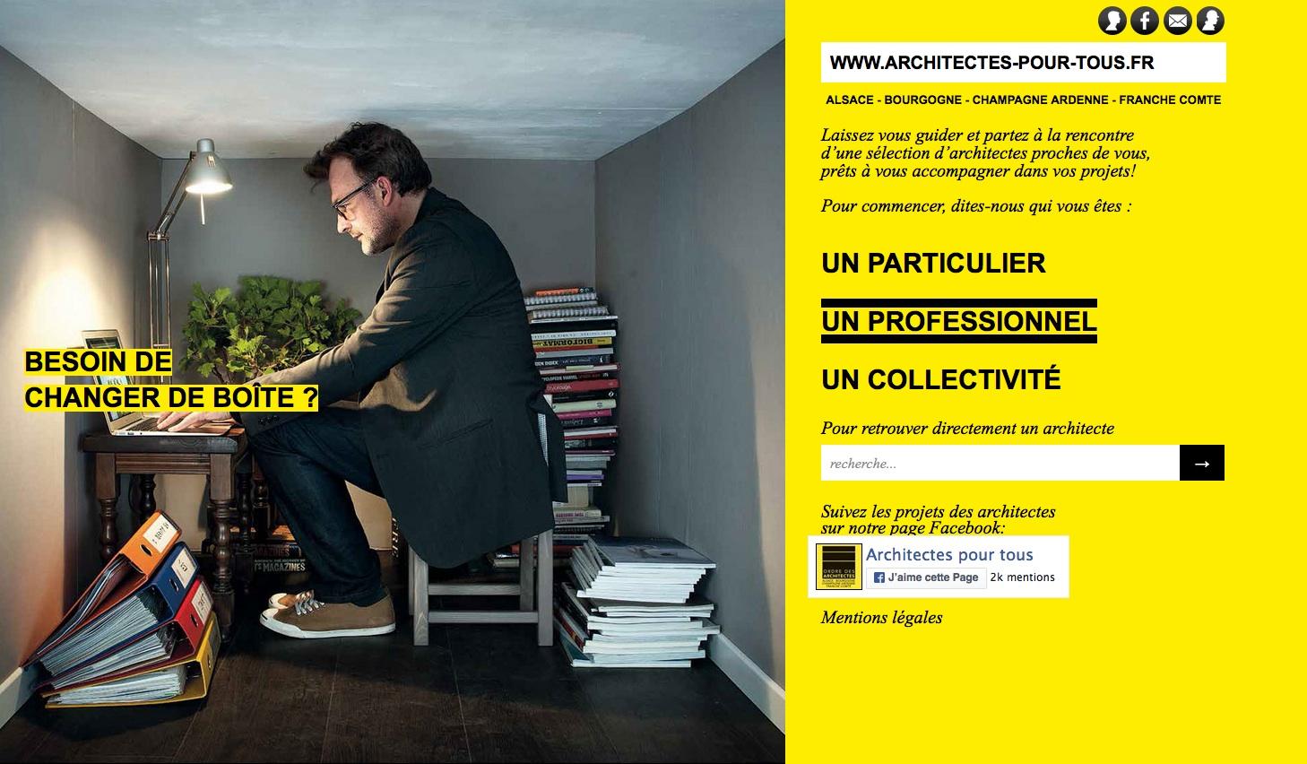 Le site internet Architectes pour tous