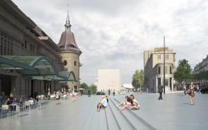 Place vue des deux esplanades compressed 300x188 - TVK remporte le réaménagement de la Place de la Gare