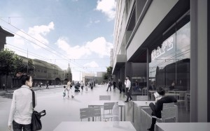 Place vue devant les facades nord compressed 300x188 - TVK remporte le réaménagement de la Place de la Gare