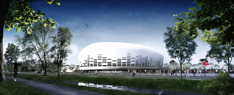 VUE DEPUIS COULE ¦E VERTE©Lagardere Unlimited Agence Rudy Ricciotti 1170x475 - Chantier du Bordeaux Métropole Arena, signé Rudy Ricciotti