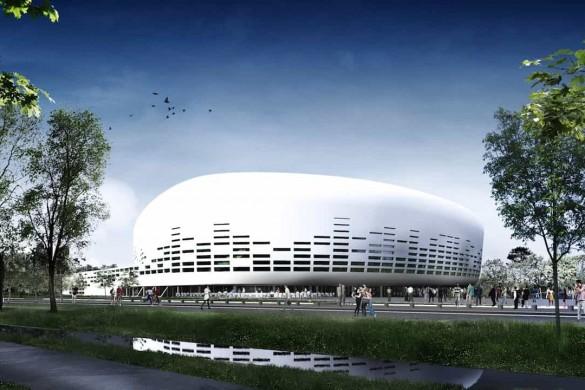 VUE DEPUIS COULE ¦E VERTE©Lagardere Unlimited Agence Rudy Ricciotti 585x390 - Chantier du Bordeaux Métropole Arena, signé Rudy Ricciotti
