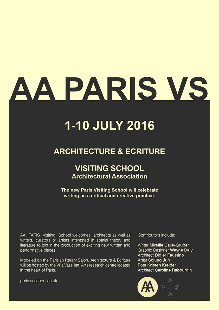 AA PARIS Visiting Shool poster copie compressed - Architecture & Ecriture