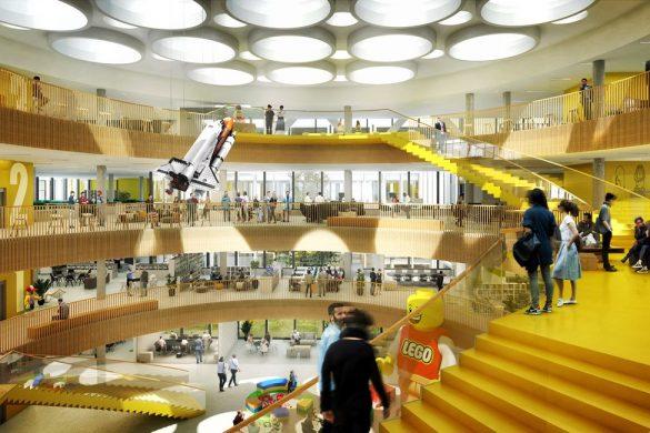 16020 101 Atrium View compressed 585x390 - Le futur siège Lego aux couleurs de la firme