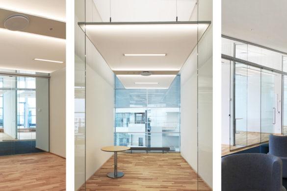 À Copenhague au Danemark, bureaux et salles de réunion ont été équipés de plafonds tendus translucides blancs rétroéclairés de la gamme So Light.