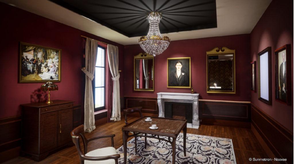 """À l'intérieur, une salle immersive invite à la découverte de la """"Belle Époque"""" de Cabourg, et les """"Period Rooms"""" évoquent l'ambiance proustienne de Balbec."""